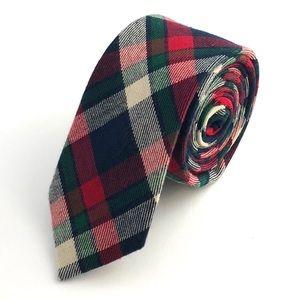 Groomsland Accessories - Men's Green & Red Plaid Flannel Necktie